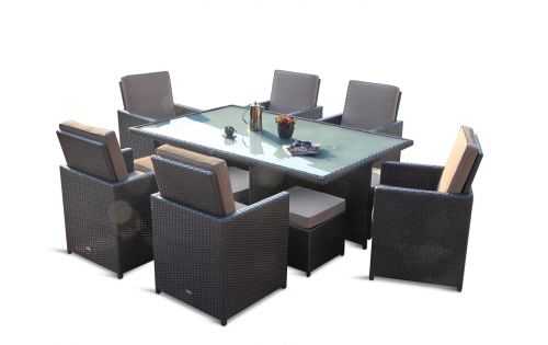 Star havesæt 6 personer m/frostet glass - sort polyrattan