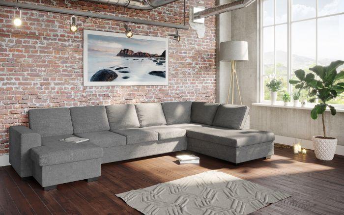 Holmsbu D4A U-sofa med sjeselong - lys grå