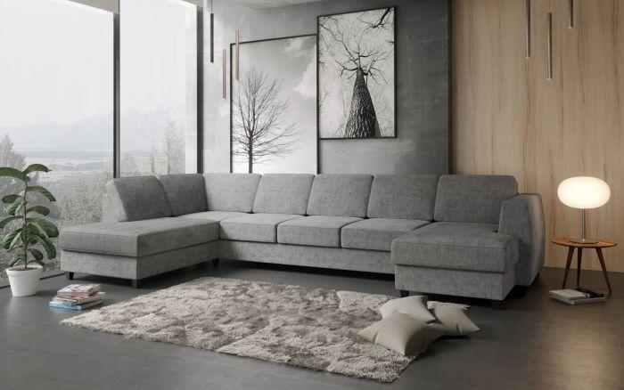 Risør A4D U-sofa med sjeselong - lys grå
