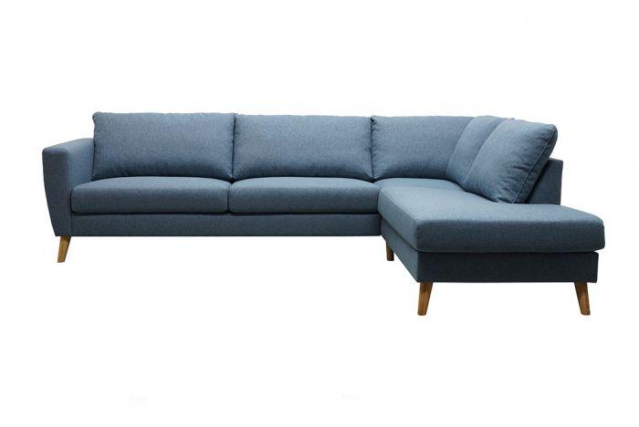 Kragerø 3A sofa med sjeselong- -sjøblå