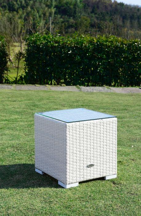 Moonlight sidebord m / glasplade - hvid polyrattan