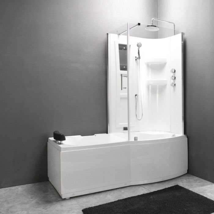 Combi 2 badekar/brusekabine - højre
