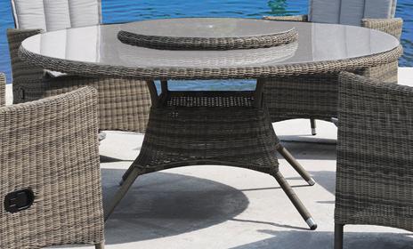 Comfort - rundt havebord i gråmix polyrattan