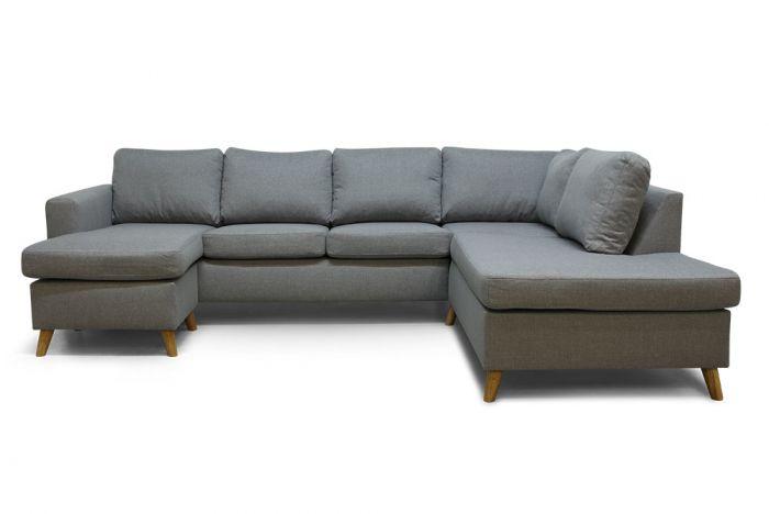 Arendal D3A U-sofa med sjeselong - lys grå