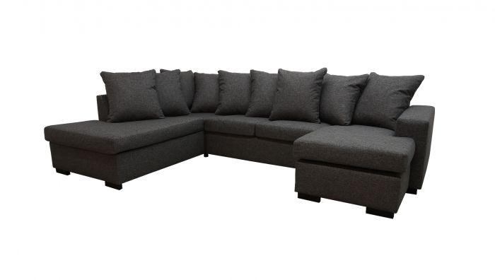 Svolvær - A3D U-sofa med sjeselong - mørk grå