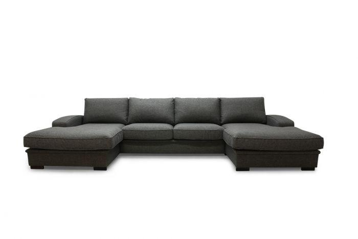 Grimstad D4D U-sofa med sjeselong - mørk grå