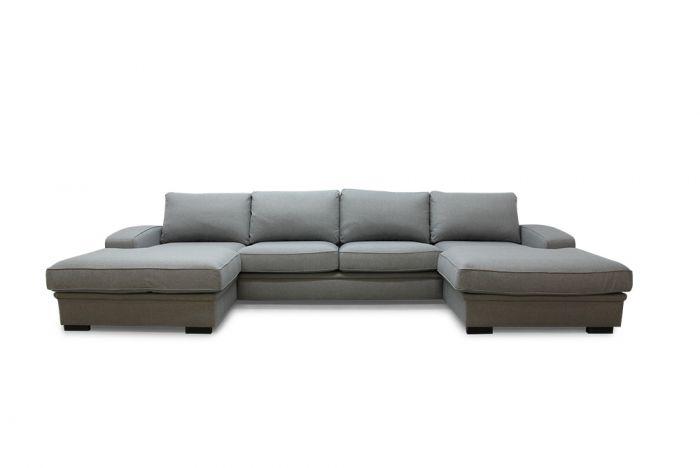 Grimstad D4D U-sofa med sjeselong - lys grå