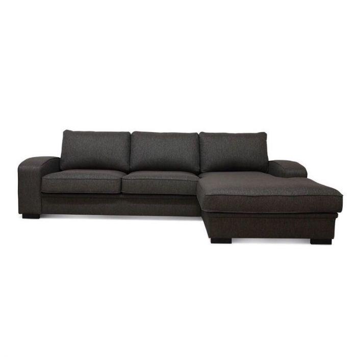 Grimstad 3D sofa med sjeselong - brun