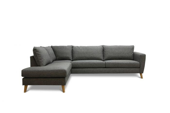 Kragerø A3 sofa med sjeselong - mørk grå