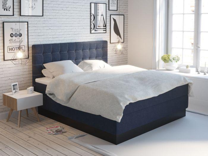 Premium kontinentalseng 200x210 - mørk blå
