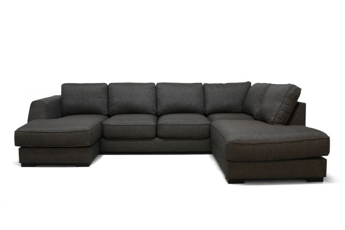 Risør D3A U-sofa med sjeselong - brun