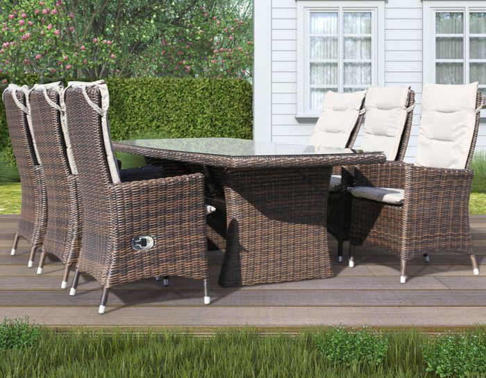 Holiday - havesæt med stort bord og 6 reclinerstole - chocolate