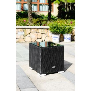 Moonlight sidebord m / glasplade - sort polyrattan