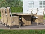 Holiday - havesæt med stort bord og 6 reclinerstole - naturmix