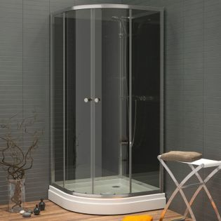 Waterlux silikonfri brusekabine rund 90x90 lav højde 180 cm, grå