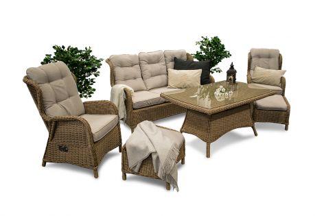 Karibia - havesæt med sofa, to ørelapstole med fodskammel og stort spisebord i naturmix