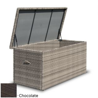 Fredo M hyndebox i chocolate polyrattan