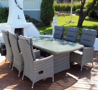 Holiday - havesæt med stort bord og 6 reclinerstole - gråmix
