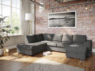 Holmsbu A3D U-sofa med sjeselong - mørk grå