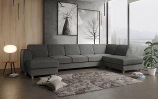 Risør D4A U-sofa med sjeselong - mørk grå