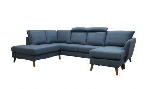 Ålesund A3D U-sofa med sjeselong - sjøblå