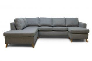 Arendal A3D U-sofa med sjeselong - lys grå