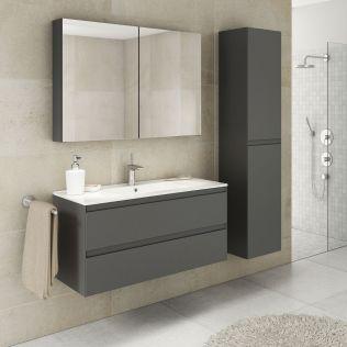NoraDesign 100 cm badeværelsesmøbel grå mat