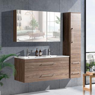 LindaDesign 120 cm badeværelsesmøbel dobbel grå alm