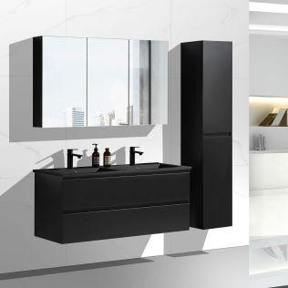 NoraDesign 120 cm badeværelsesmøbel dobbelt i matsort med sort servant