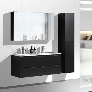 NoraDesign 120 cm badeværelsesmøbel dobbelt i matsort