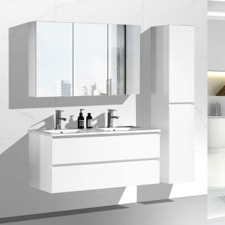 NoraDesign 120 cm badeværelsesmøbel dobbelt i mathvid