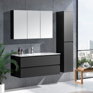 NoraDesign 120 cm badeværelsesmøbel single grå matt