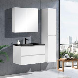 NoraDesign 80 cm badeværelsesmøbel hvid mat m/sort servant