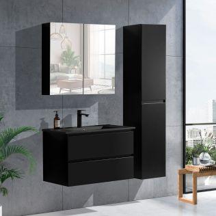 NoraDesign 80 cm badeværelsesmøbel sort mat m/sort servant