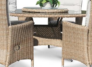 Comfort - rundt havebord i naturmix polyrattan