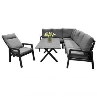 Jamaica hjørnesofa 2C3 i aluminium m/spisebord og 1 recliner stol