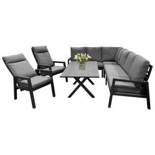 Jamaica hjørnesofa 2C3 i aluminium m/spisebord og 2 recliner stole