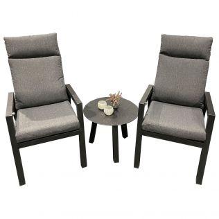 Jamaica cafésæt/hvilestolesæt med 2 stole og bord diameter 55 cm i aluminium