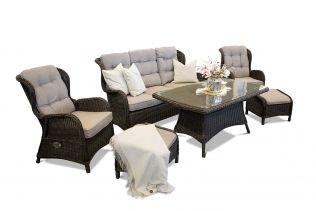Karibia - havesæt med sofa, to ørelapstole med fodskammel og stort spisebord i chocolate