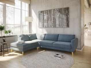 Kragerø A3 sofa med sjeselong - sjøblå