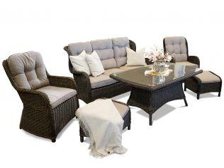 Living - havesæt med sofa, to stole med fodskammel og stort spisebord i chocolate