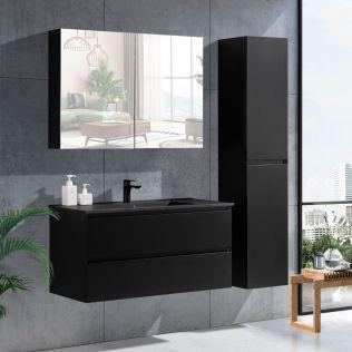 NoraDesign 100 cm badeværelsesmøbel sort mat m/sort servant
