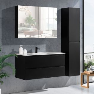 NoraDesign 100 cm badeværelsesmøbel sort mat