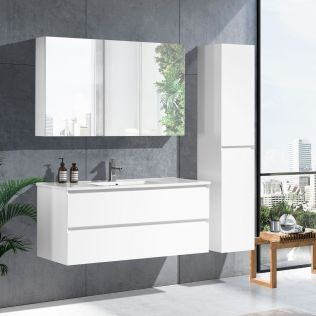 NoraDesign 120 cm badeværelsesmøbel single hvid matt