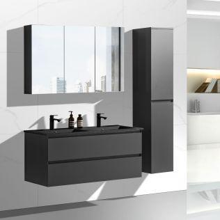 NoraDesign 120 cm badeværelsesmøbel dobbelt i matgrå med sort servant