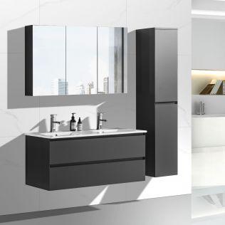 NoraDesign 120 cm badeværelsesmøbel dobbelt i matgrå