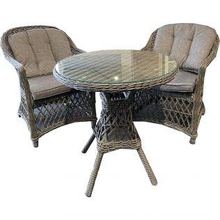 Romantik spisegruppe/cafésæt med 2 stole og et rundt bord i gråmiks