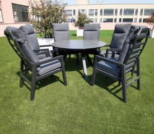 Jamaica rund spisegruppe m/stort bord ø150 cm og 6 recliner stole i aluminium
