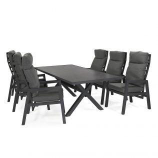 Jamaica spisegruppe m/bord og 6 recliner stole i aluminium